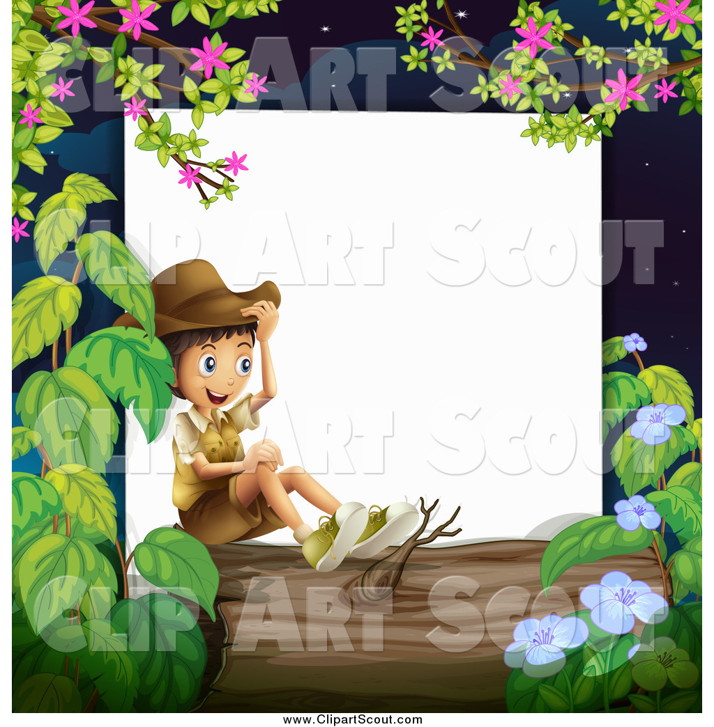 Clipart Of A Happy Boy Explorer Sitting On Log Border