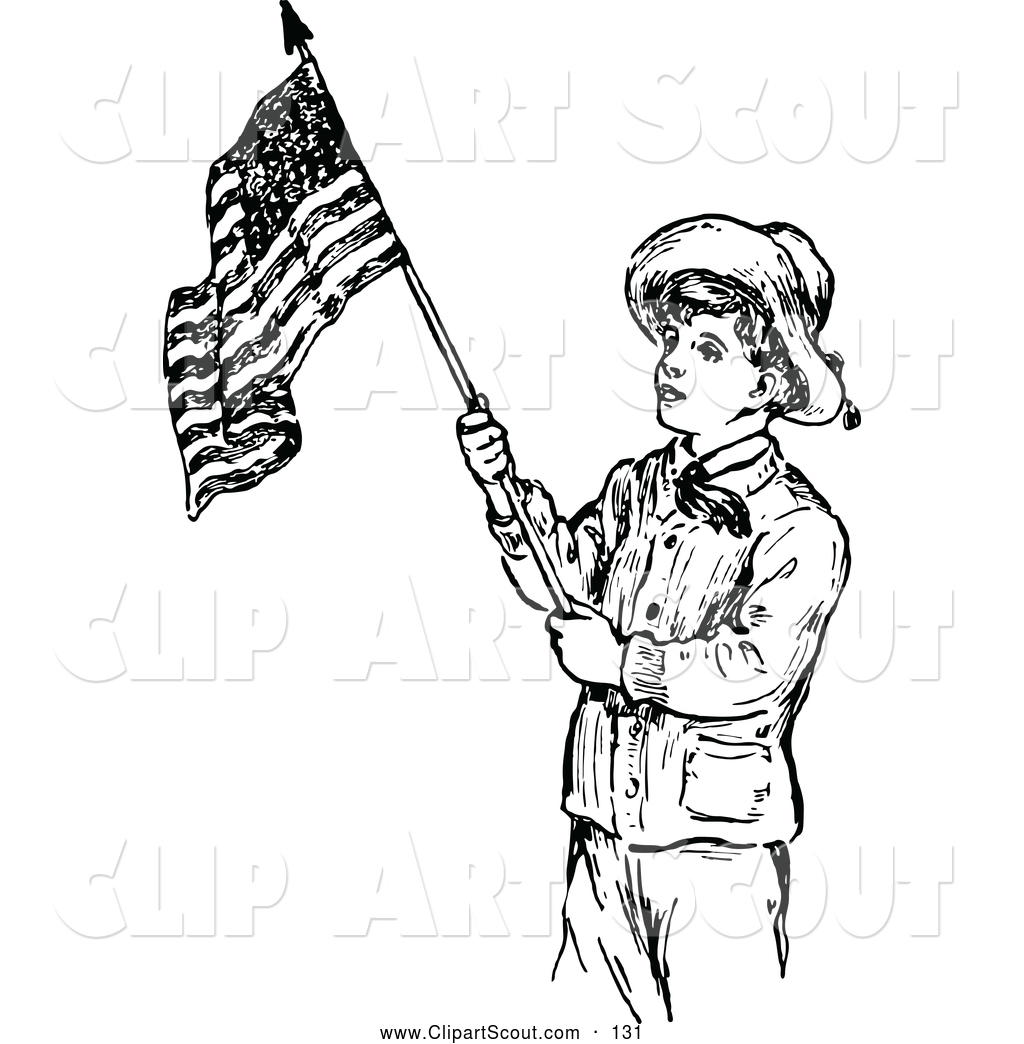 Clipart Of A Old Fashioned Retro Vintage Black And White Scout Boy With An American Flag