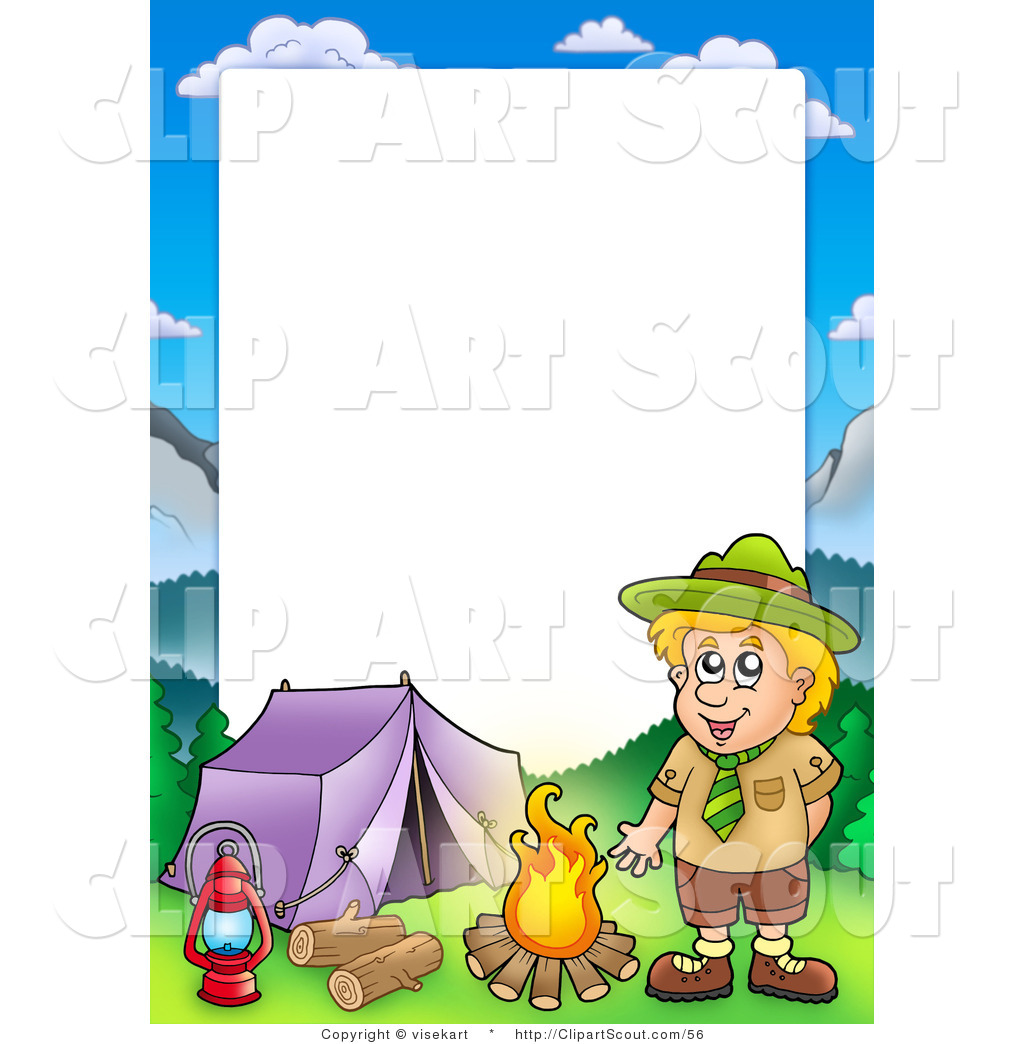 Camping wilderness. Clipart of a scout