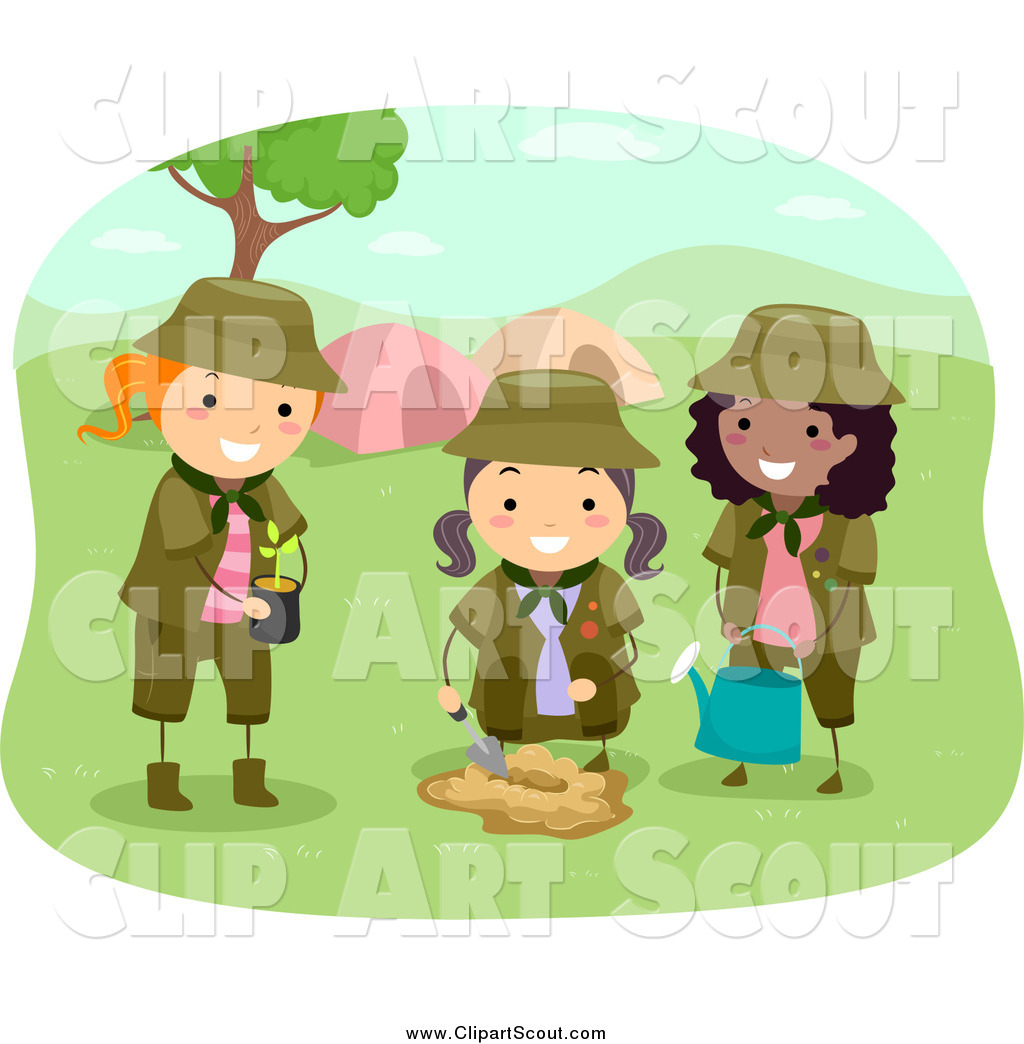 clipart of girl scouts planting a tree by a camp site by