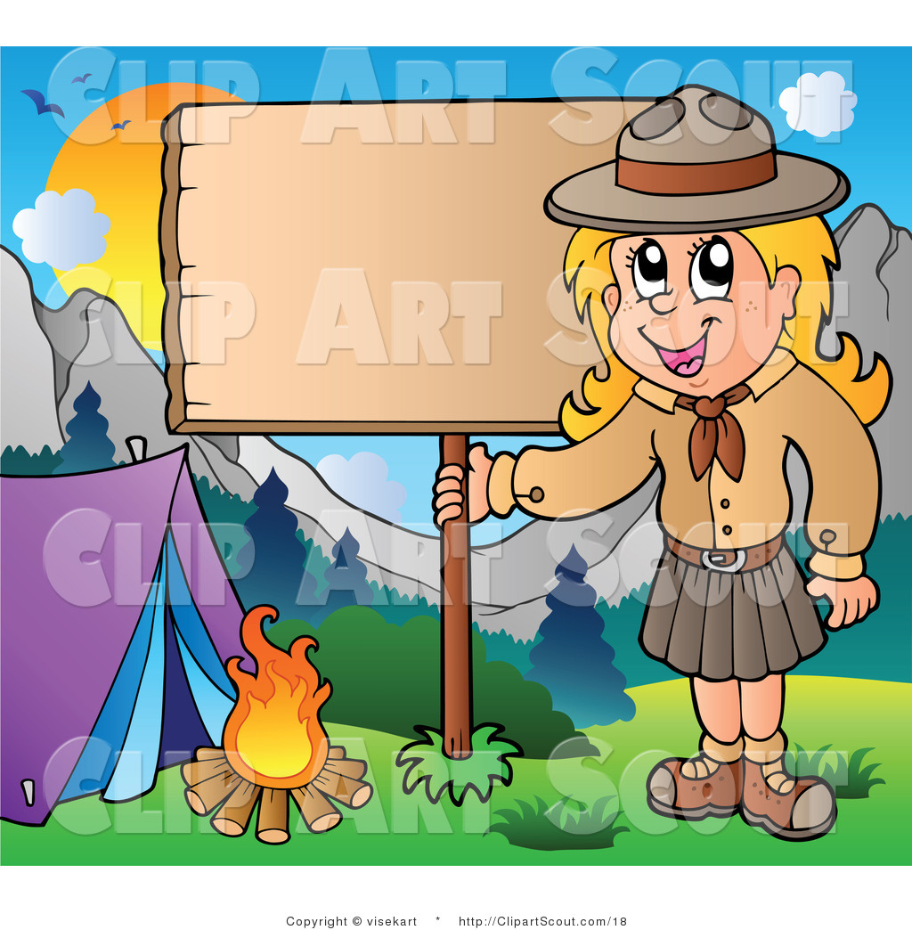 Girl Scout With A Wood Sign At Campground