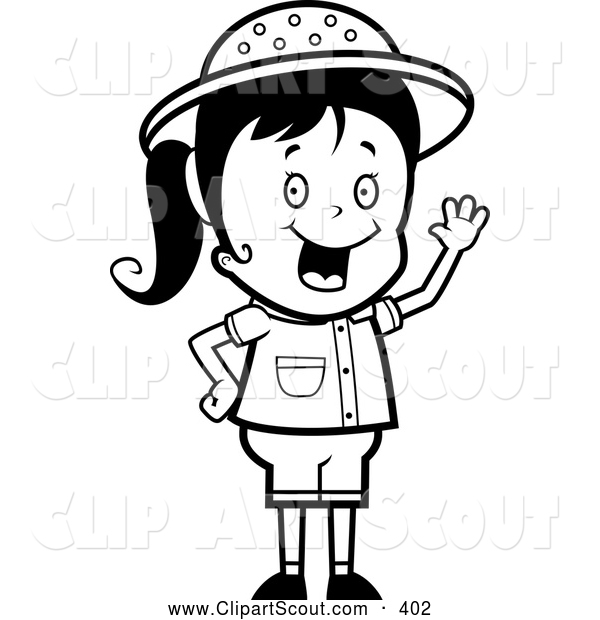 clipart of a black and white happy safari girl waving by cory thoman rh clipartscout com